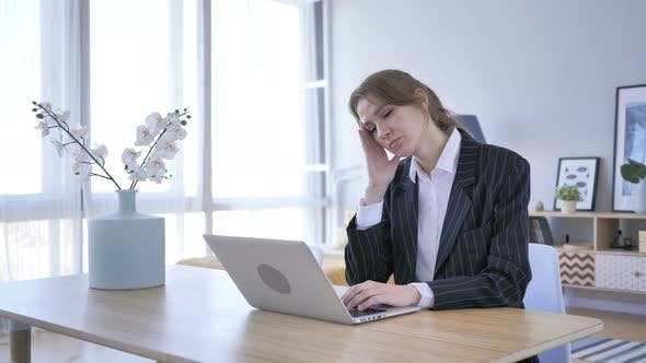 Cover Image for Headache, Woman in Tension Working in Office, Pain
