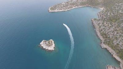Sea Bay Speedboat Aerial Nature Mountain