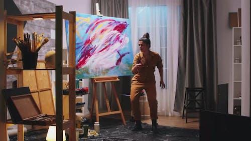 Futuristic Panting in Art Studio