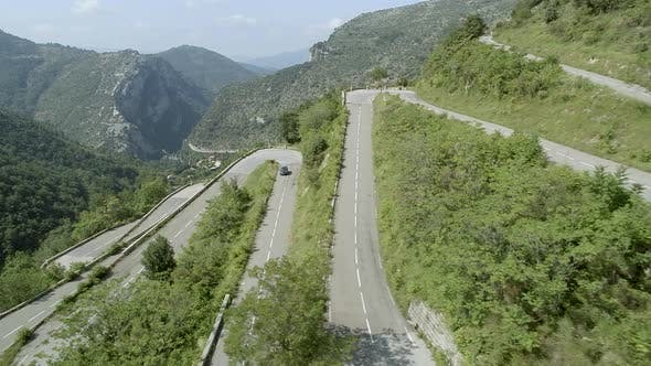 Winding, Twisting and Steep Mountain Road Aerial
