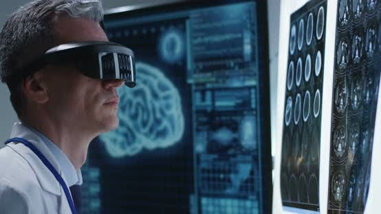 Thumbnail for Doctor Examining Brain Scan with VR Headset