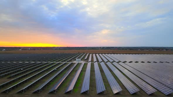 Thumbnail for Solar cell power plants at  solar farm at summer sunset, large solar panels, HDR video