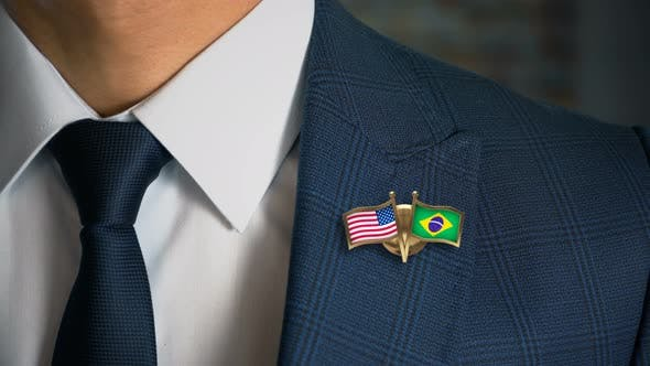 Thumbnail for Businessman Friend Flags Pin United States Of America Brazil