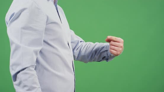 Thumbnail for Side view of a man indicating to himself