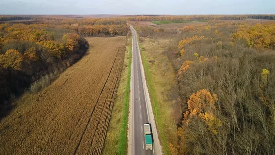 Thumbnail for Aerial View at the Scenic Road in Autumn With Fall Colors
