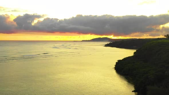 Thumbnail for Hawaiian Tropical Awe Inspiring Views Waterfront Golden Yellow Sunrise Morning Sunlight Coastline