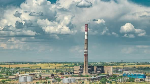 Thumbnail for Big Power Plant with High Chimney with Dramatic Cloudy Sky