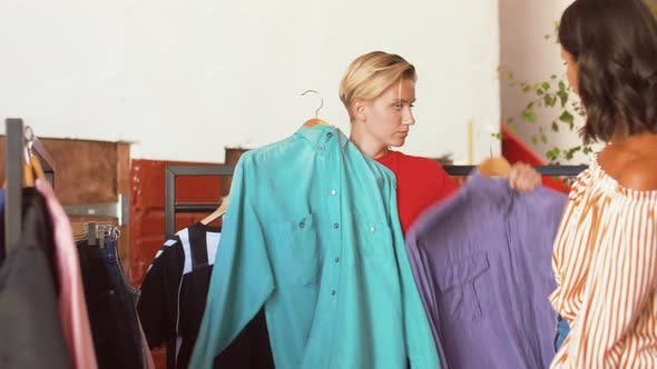 Thumbnail for Women Choosing Clothes at Vintage Clothing Store