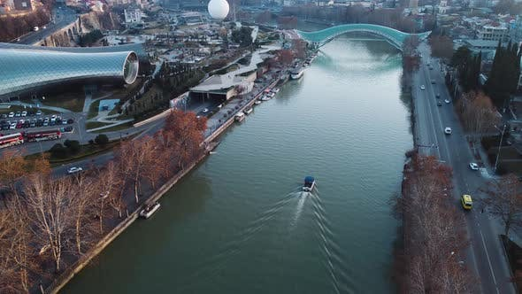 Motorboat In The River Aerial