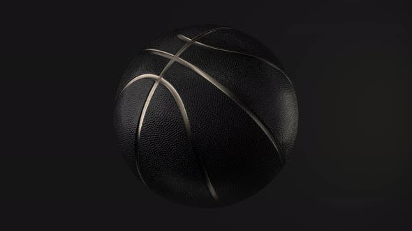 Thumbnail for 4K Loop Black Basketball with Gold Metallic Line