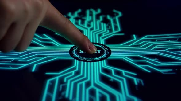 Human Finger Pushes Touch Digital Start Button With Futuristic Artificial Intelligence