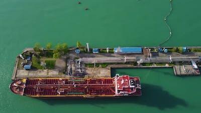 Oil Tanker In The Port Aerial