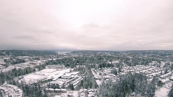 Aerial Of Woodinville Washington Covered In White Winter Snow