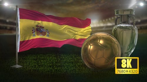 8K Spain Flag with Football And Cup Background Loop
