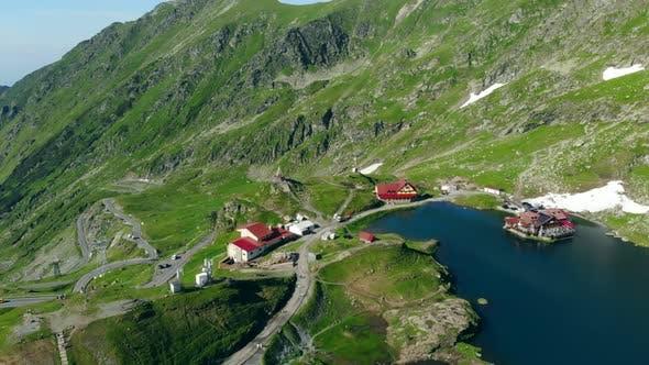 Aerial View Lake Balea on Transfagaras Pass in Carpathian Mountains Romania