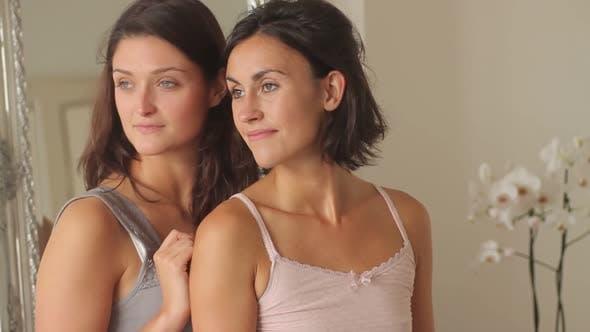 Thumbnail for Portrait of two females in nightwear