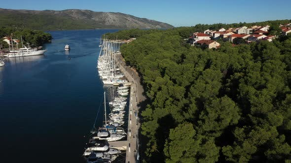 Thumbnail for Aerial Sunset View of Stari Grad, a Town at Hvar Island, Croatia