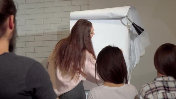 Thumbnail for Young Businesswoman Drawing on Flipchart Leading Business Conference