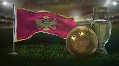 Montenegro Flag With Football And Cup Background Loop