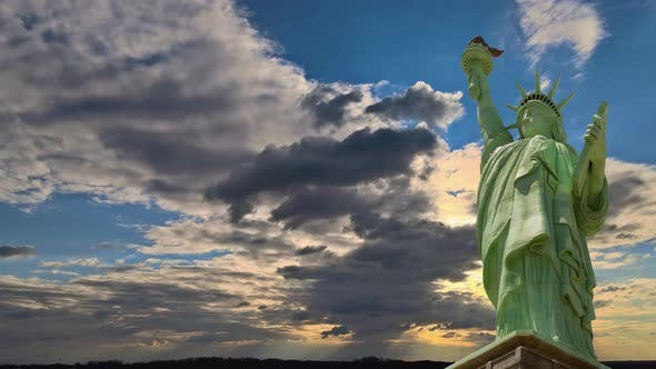 The Statue of Liberty on Liberty Island New York Blue Perfect Amazing Sunset with Endless Colorful