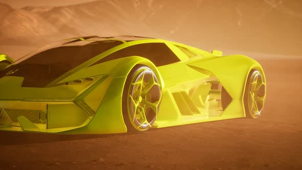 Supercar at Sunset in Desert