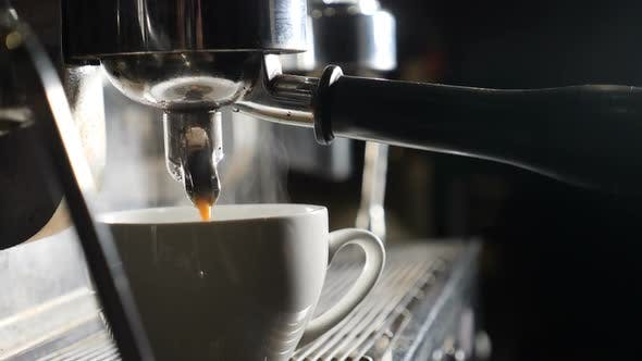 Thumbnail for Slow Motion Video. Coffee Machine Making Espresso in Cafe. Barista Making Coffee in Bar. Espresso