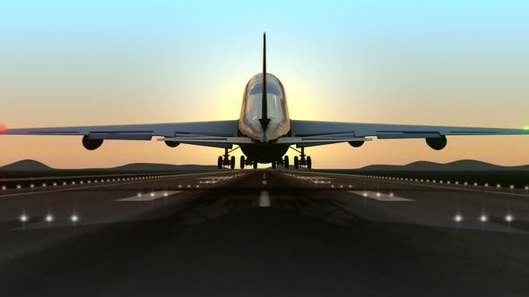 Cover Image for Huge Airplane Landing Close Up Against Clean Sky