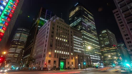 Thumbnail for Night timelapse of buildings in Downtown Montreal