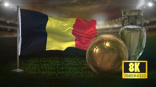 8K Belgium Flag with Football And Cup Background Loop