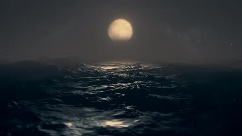 Dark Sea With Moon