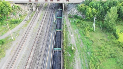 Aerial View of a Coal Train. Drone Point of View