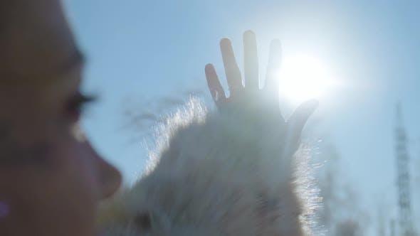 Thumbnail for Sun on Female Hand. Silhouette of Hand Holding Sun
