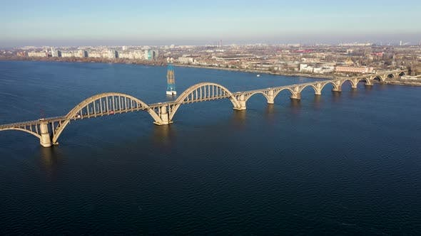 Thumbnail for Aerial View of Old Arch Bridge in Dnepr City