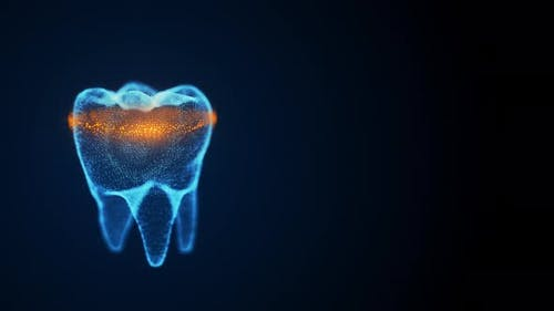 Isolated Rotating Tooth Costructed with Glowing Points and Orange Scanning Line Analyze Dental
