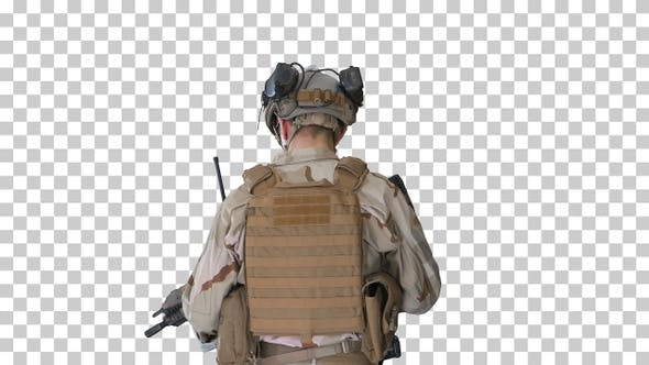 Thumbnail for Ranger in combat uniform walking, Alpha Channel