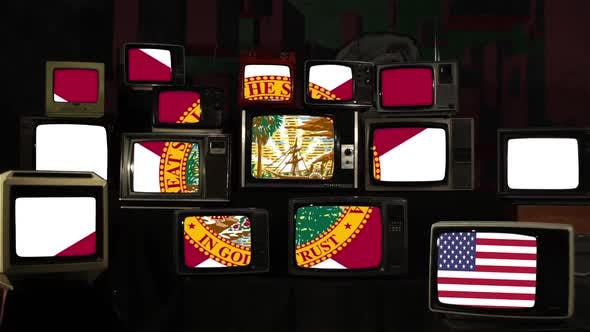 Flag of Florida and US Flag on Retro TVs.
