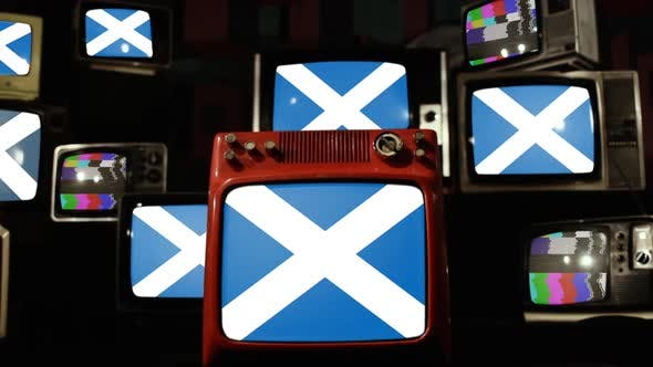 Thumbnail for Scotland Flags and Stack of Ancient TVs.