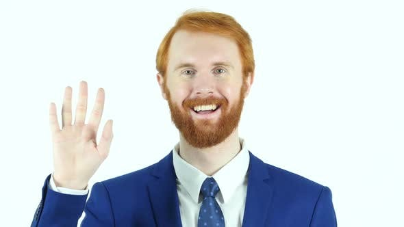 Thumbnail for Hello Gesture by Red Hair Beard Businessman
