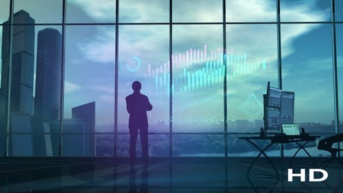 A Businessman Is Carefully Looking At Financial Data HD
