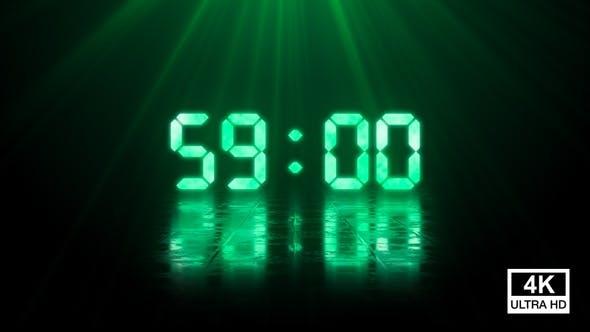 Thumbnail for Digital Negative Countdown 60 Seconds Green 4K