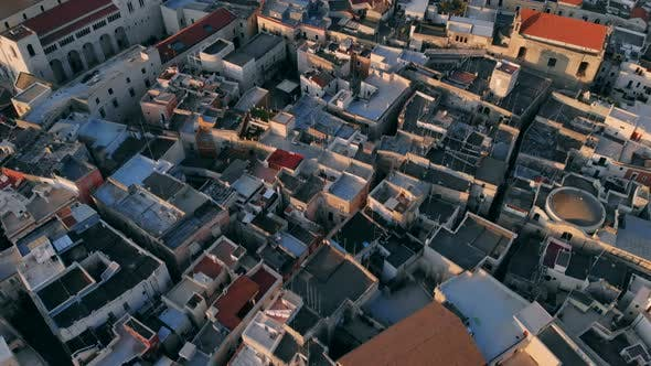 Aerial View of Street and Roofs Houses of City Bari, Italy