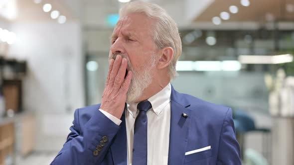 Thumbnail for Sleepy Senior Old Businessman Yawning