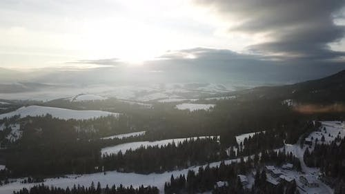 Aerial Shot of Majestic Sunrise in the Mountains