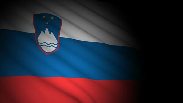 Slovenia Flag Blowing in Wind