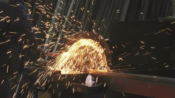Thumbnail for Cropped Shot of a Metalworker Welding Steel Pipes with Sparks Flying