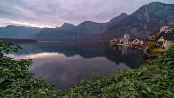 Thumbnail for Timelapse View of the Lake and the City of Hallstatt During a Beautiful Sunrise in Mid-autumn