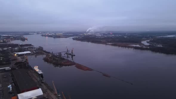 High Angle Aerial View Over Cranes at Industrial Port in Europe
