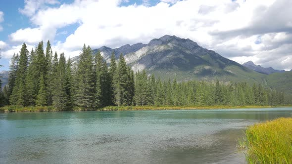 Thumbnail for Pan right of Bow River flowing, Banff National Park