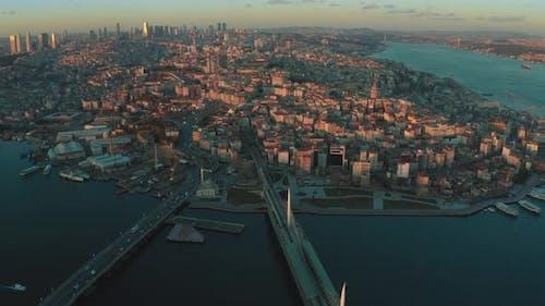 Bosphorus Bridge Istanbul at Sunset Time in Turkey