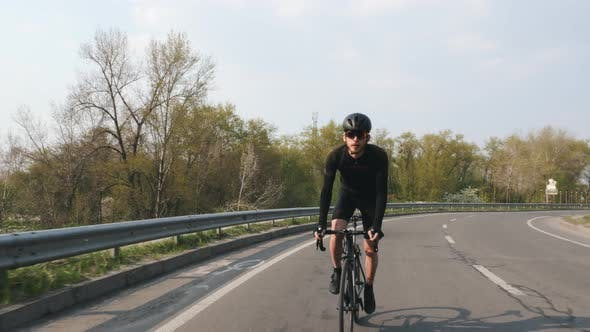 Focused Cyclist on a road bicycle